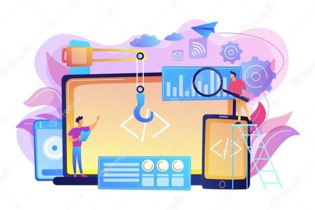 engineer-developer-with-laptop-tablet-code-cross-platform-development-cross-platform-operating-systems-software-environments-concept-bright-vibrant-violet-isolated-illustration_335657-312